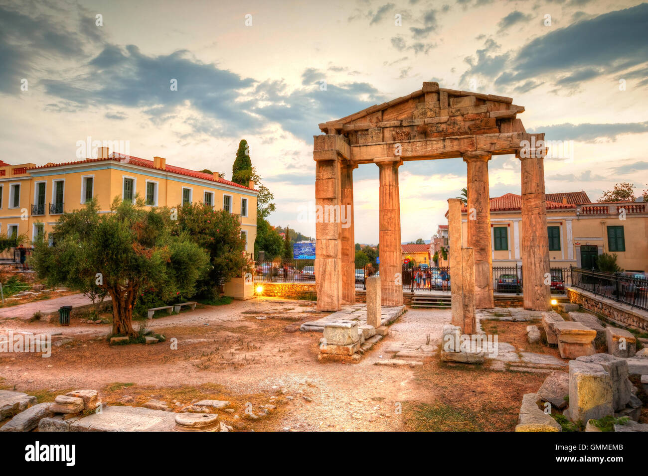 Remains of the Gate of Athena Archegetis and Roman Agora in Athens, Greece. HDR image - Stock Image