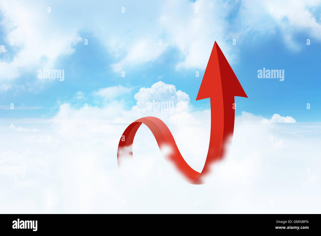 Arrow in cloudy blue Sky, Business Success, Business Growth - Stock Image