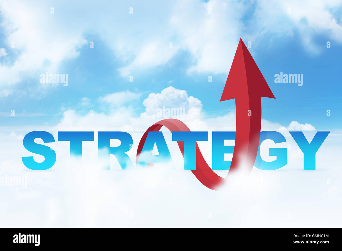 Strategy Word with Arrow in Cloudy Blue Sky - Stock Image