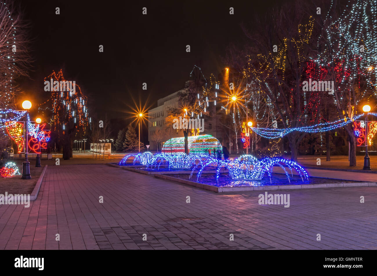 Christmas lighting at the park area on the night of the baptism in January 2014 - Stock Image