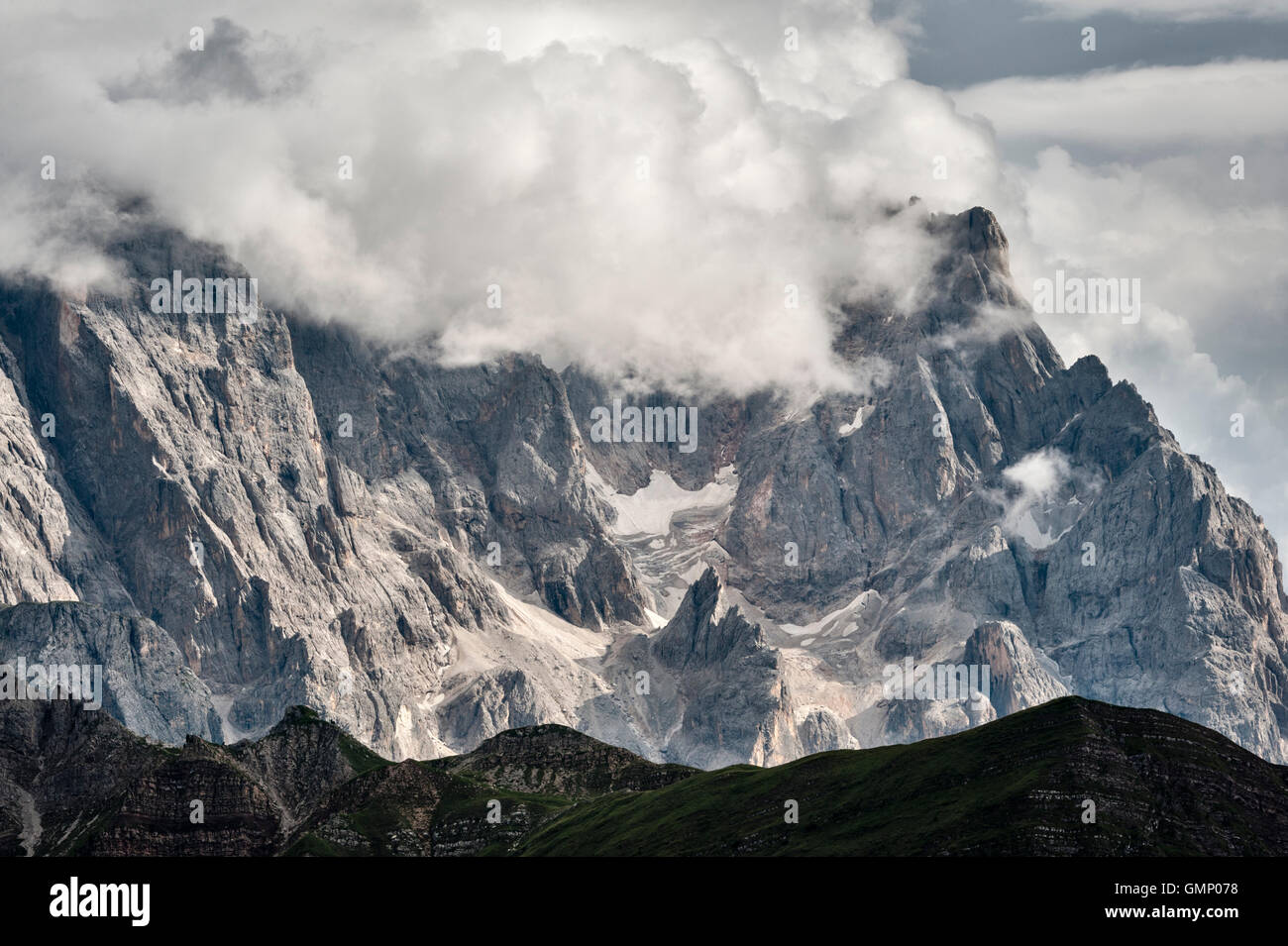The Dolomites, Trentino, northern Italy. Part of the Pale di San Martino as seen from Monte Pradazzo, in summer Stock Photo