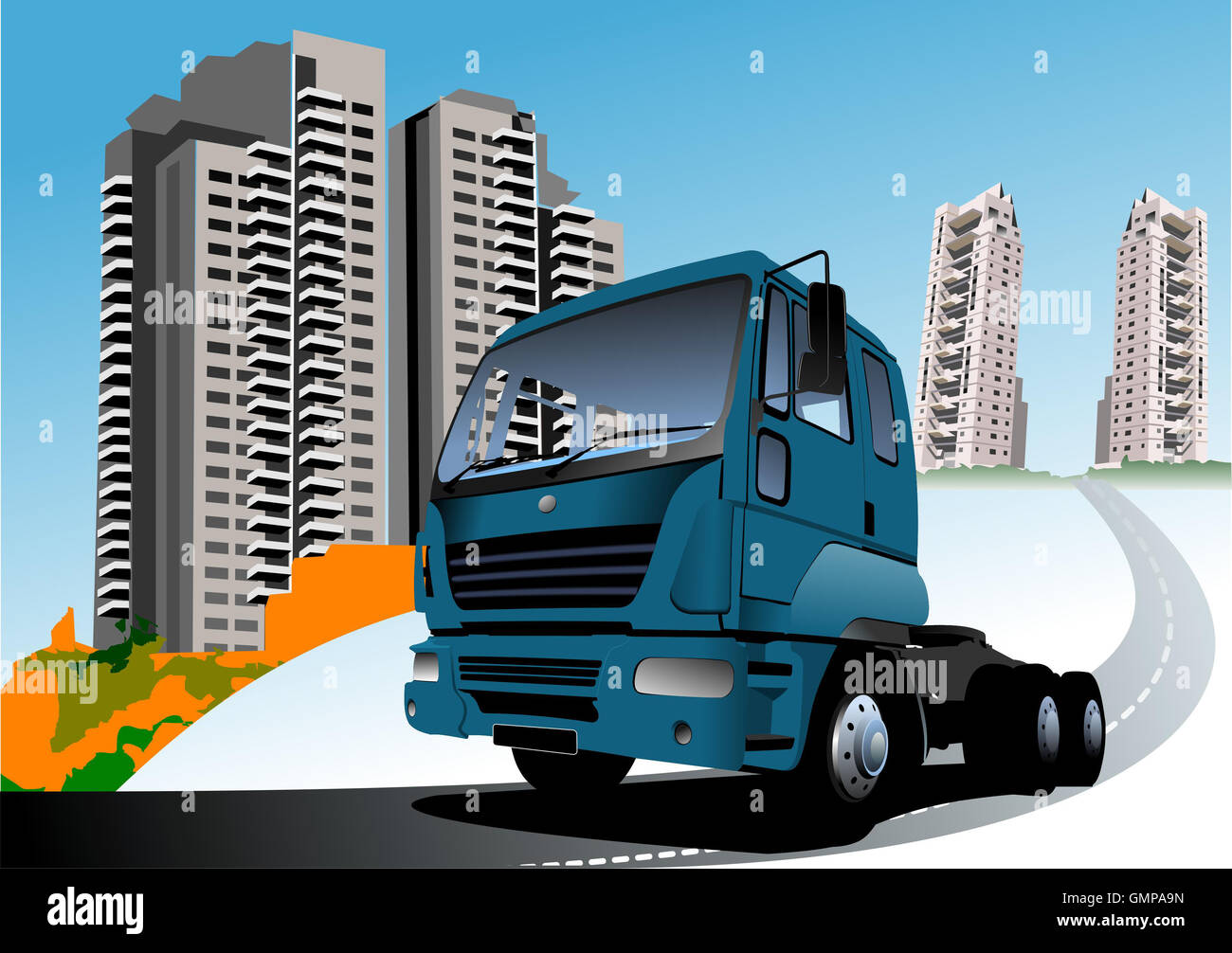 Dormitory and blue truck. Vector illustration - Stock Image