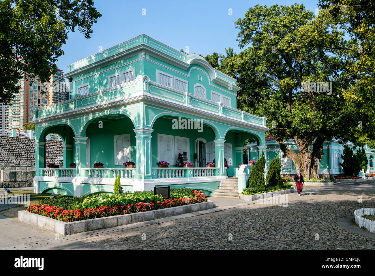 old portuguese colonial mansions tourist attraction in taipa area of macao macau china - Stock Image