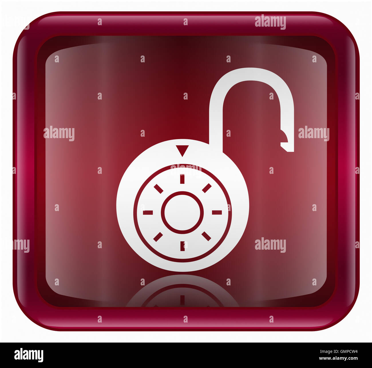Lock on icon red - Stock Image