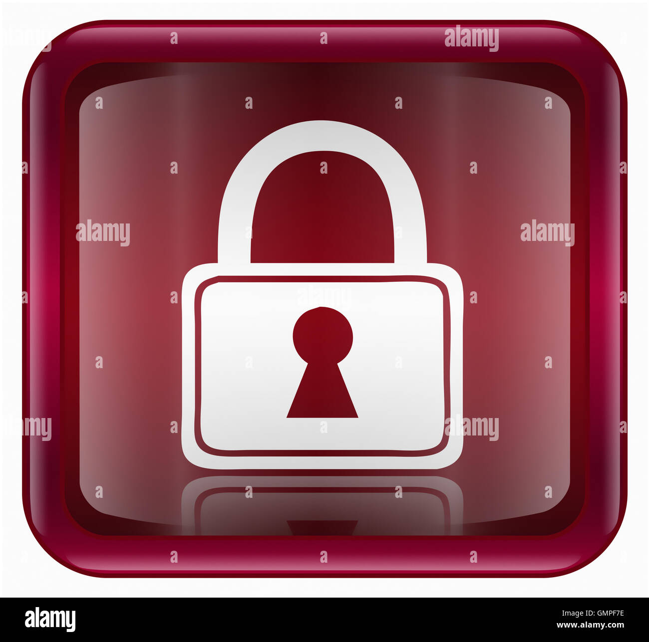 Lock icon red, isolated on white background - Stock Image