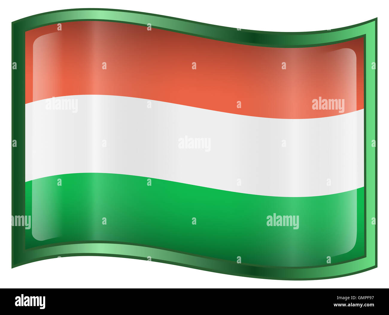 Hungary Flag Icon - Stock Image
