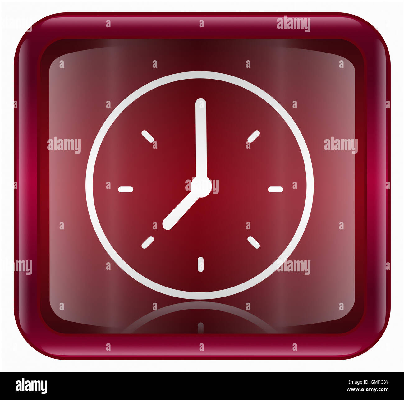 Clock icon red - Stock Image