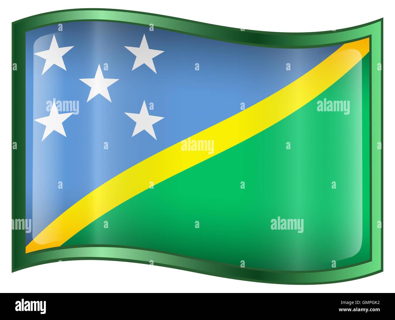 Solomon Islands Flag icon. - Stock Image