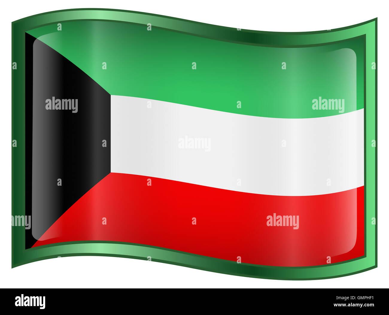 Kuwait Flag Icon, isolated on white background. - Stock Image