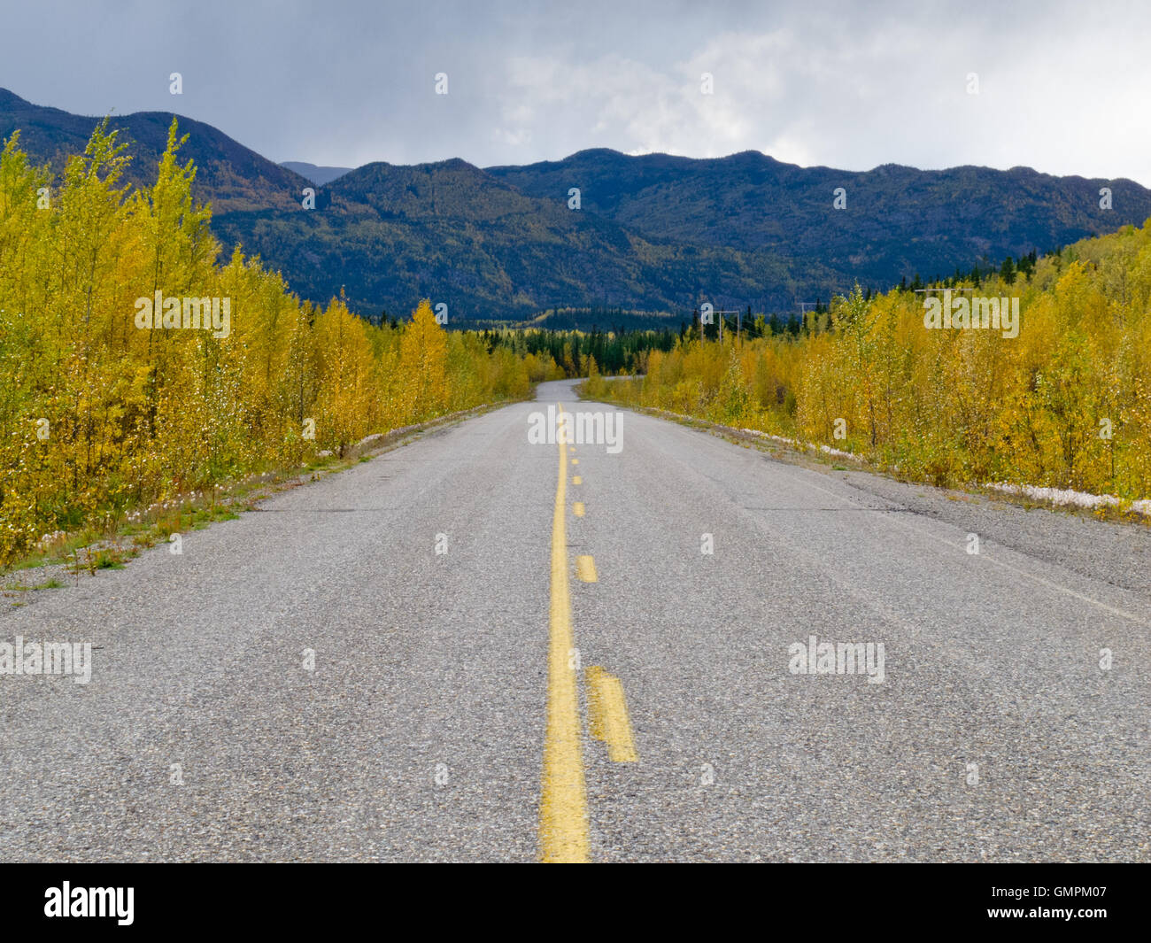 Fall at Robert Campbell Hwy Yukon Territory Canada - Stock Image