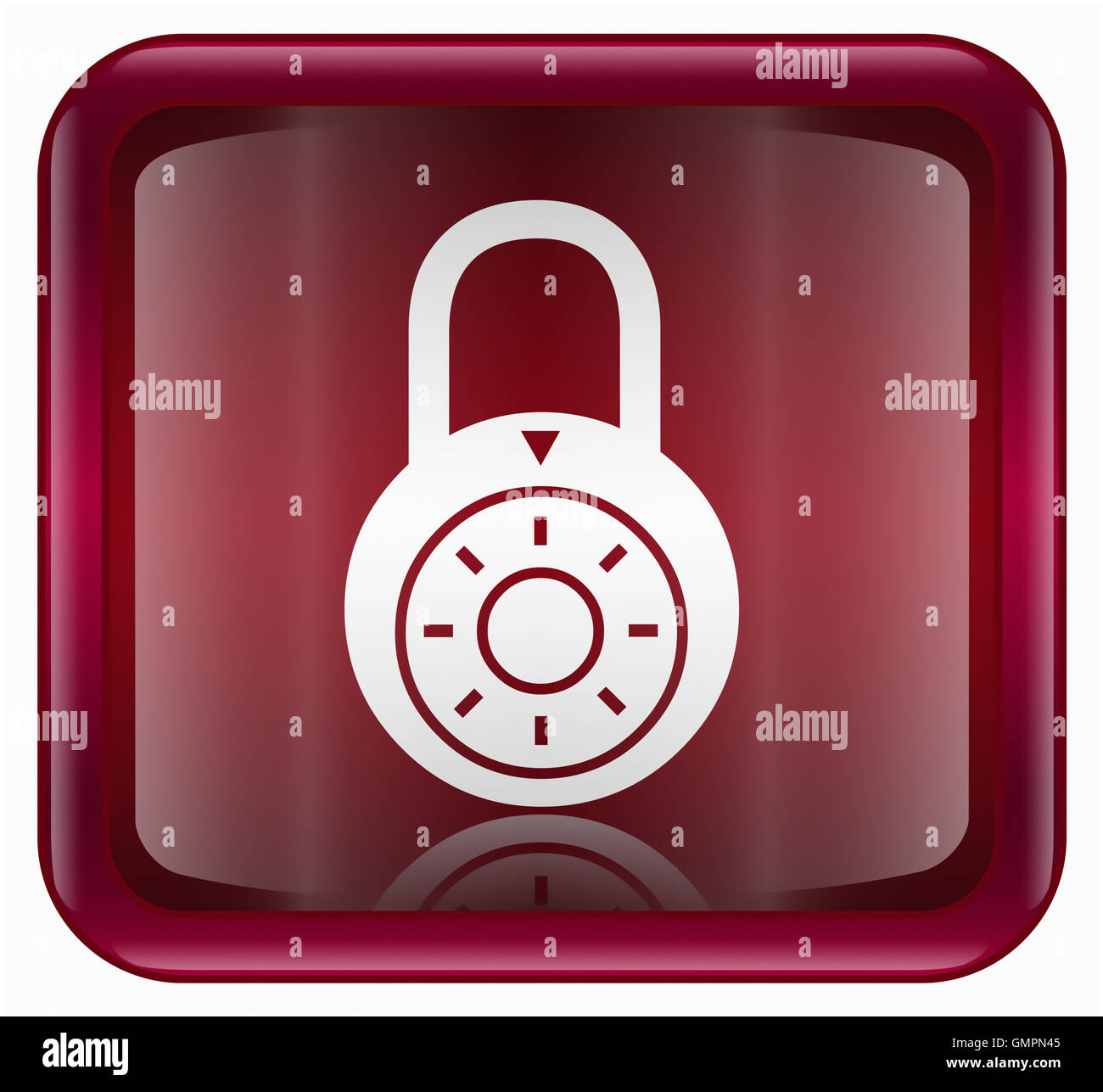 Lock off icon red - Stock Image