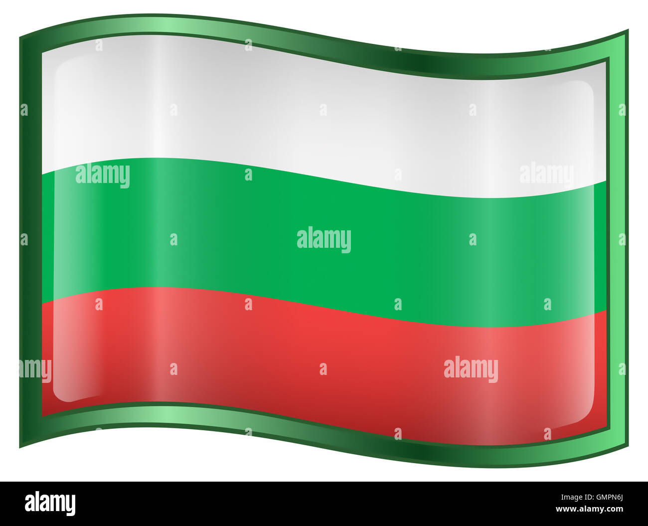 Bulgaria Flag Icon, isolated on white background. Stock Photo