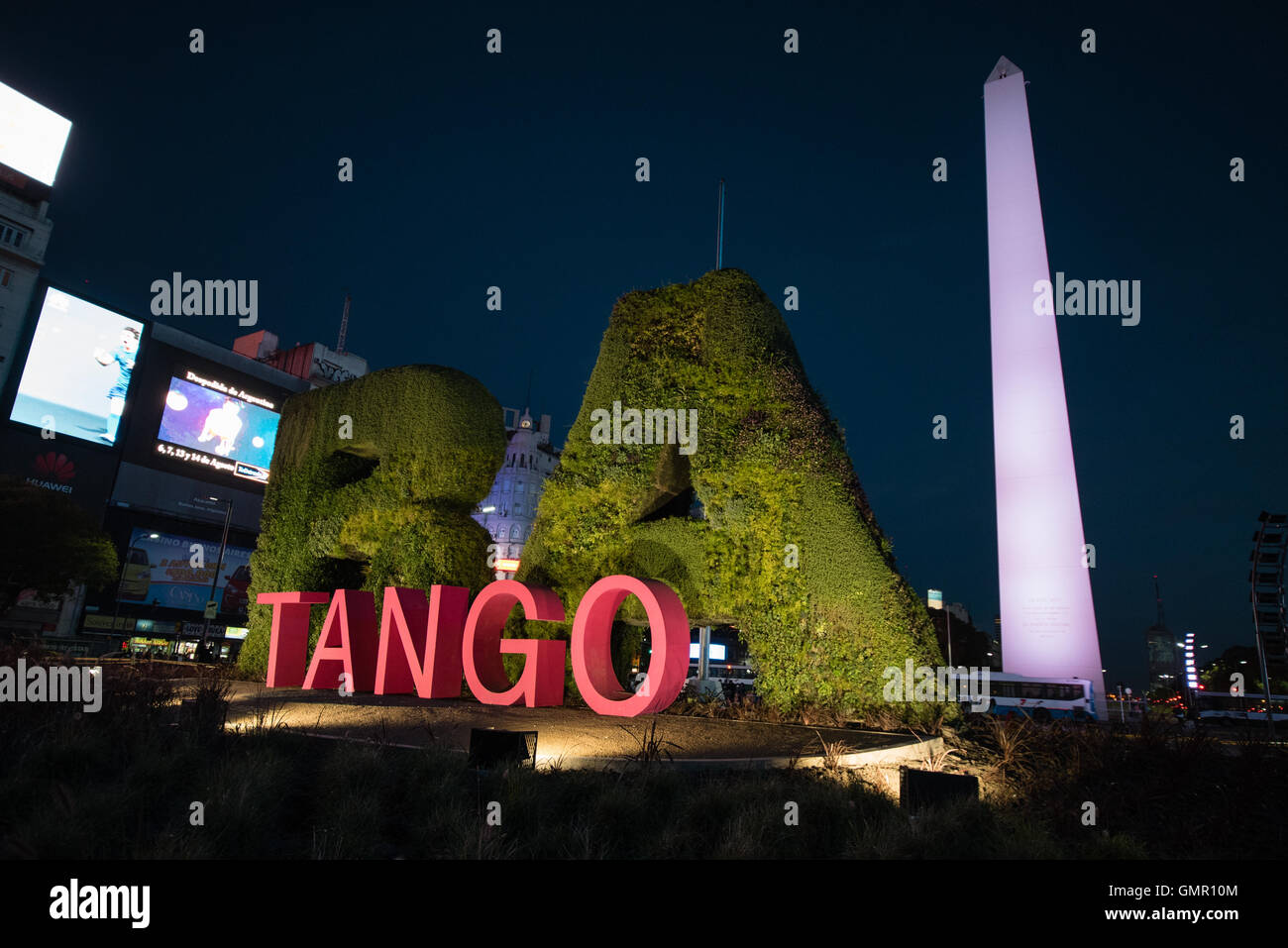 Buenos Aires, Argentina - 15 Aug 2016: Tango installation in front of the Obelisk. - Stock Image