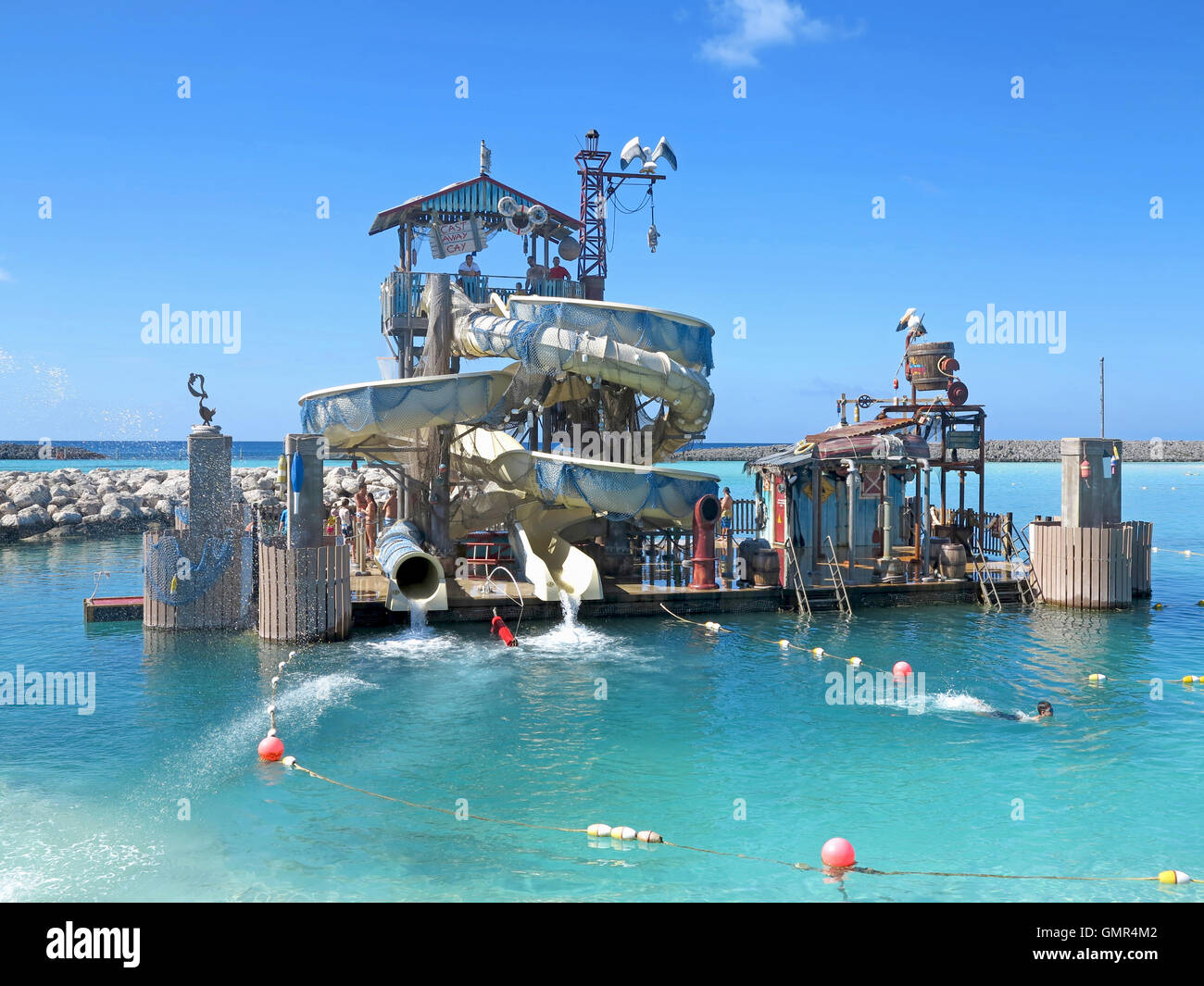 Castaway Cay, Bahamas. January 29th, 2013. Pelican Plunge water slides at Castaway Cay, Disney Cruise private island. - Stock Image
