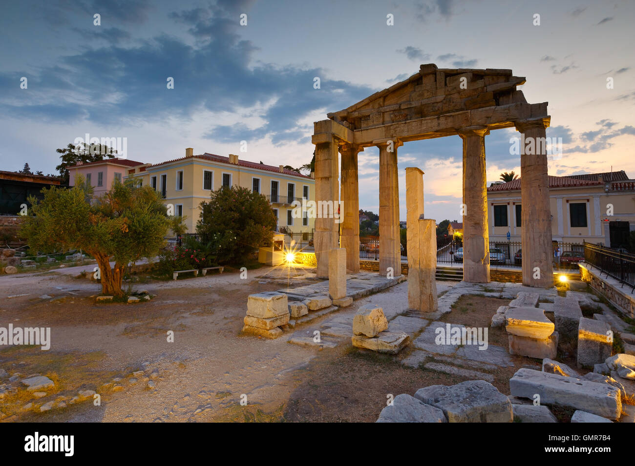Remains of the Gate of Athena Archegetis and Roman Agora in Athens, Greece. - Stock Image