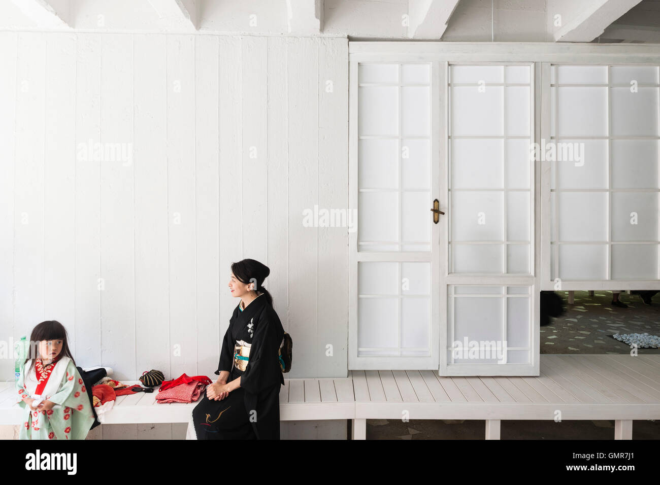 Woman and her child wearing traditional kimonos. Japan Pavilllion at the XV Venice Biennale, Venice, Italy. Architect: - Stock Image