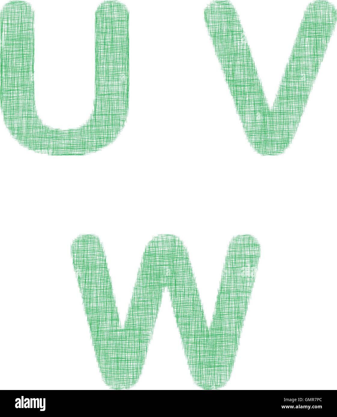 Green fabric font set - letters U, V, W - Stock Vector