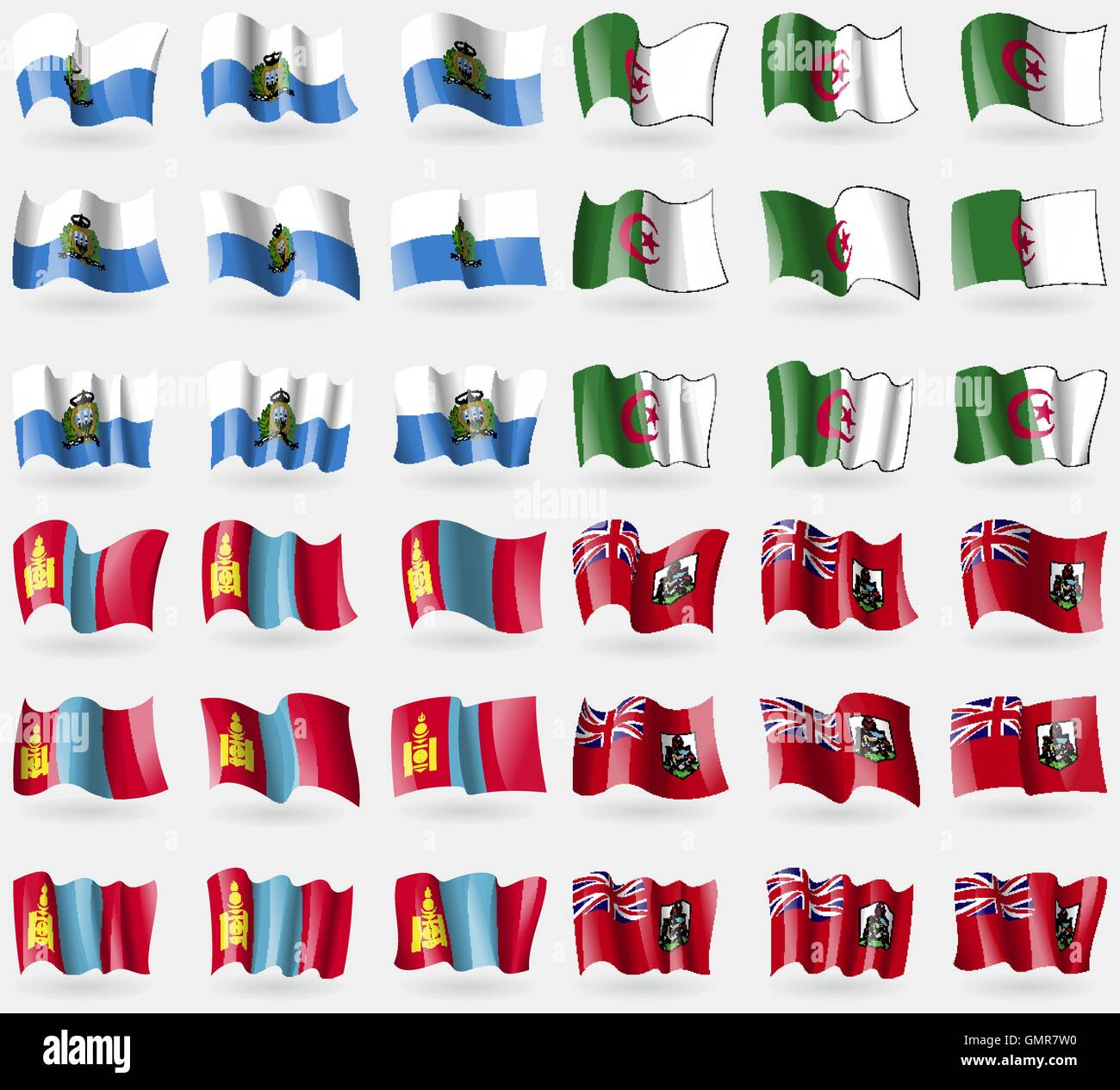San Marino, Algeria, Mongolia, Bermuda. Set of 36 flags of the countries of the world. Vector - Stock Vector