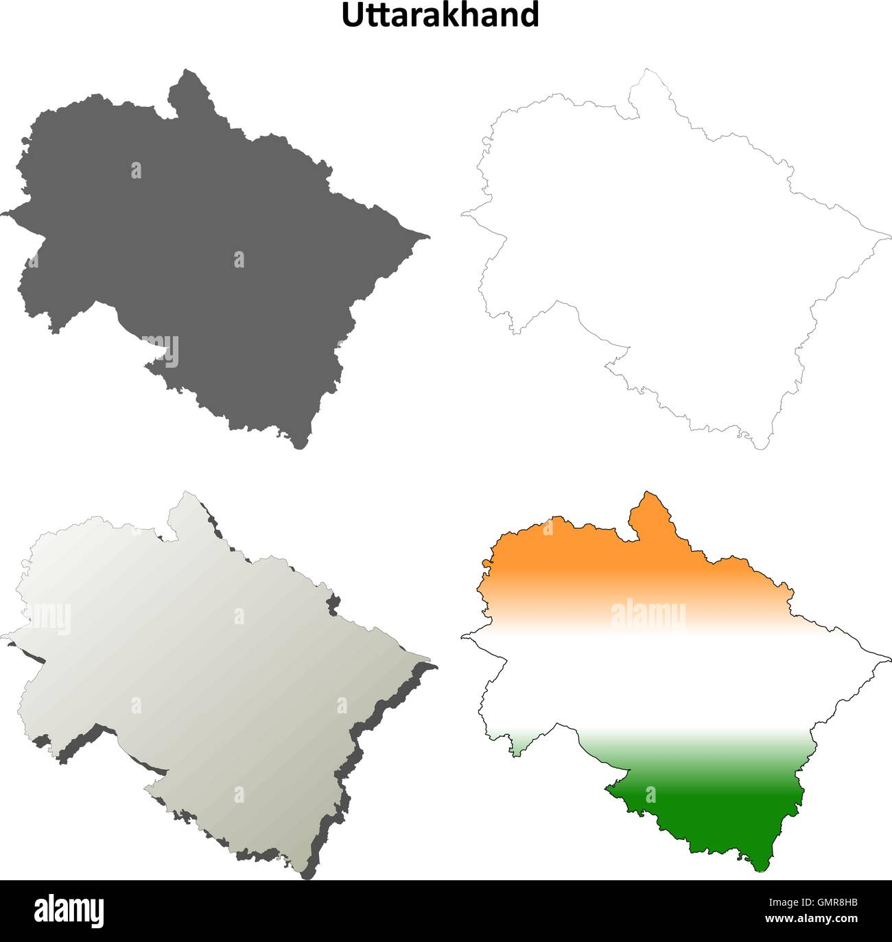 Uttarakhand blank detailed outline map set Stock Vector Art ...