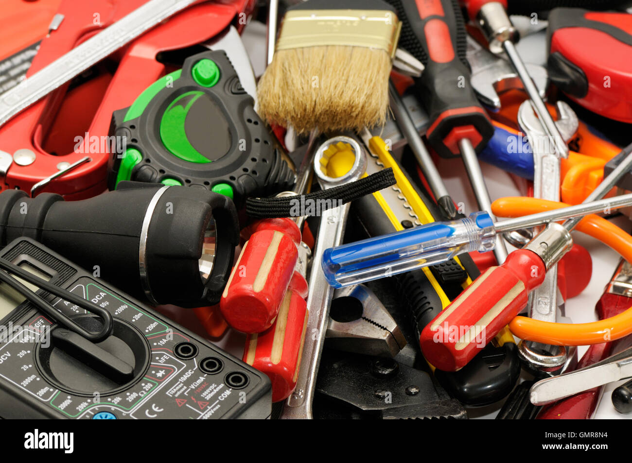 tools on a white background - Stock Image