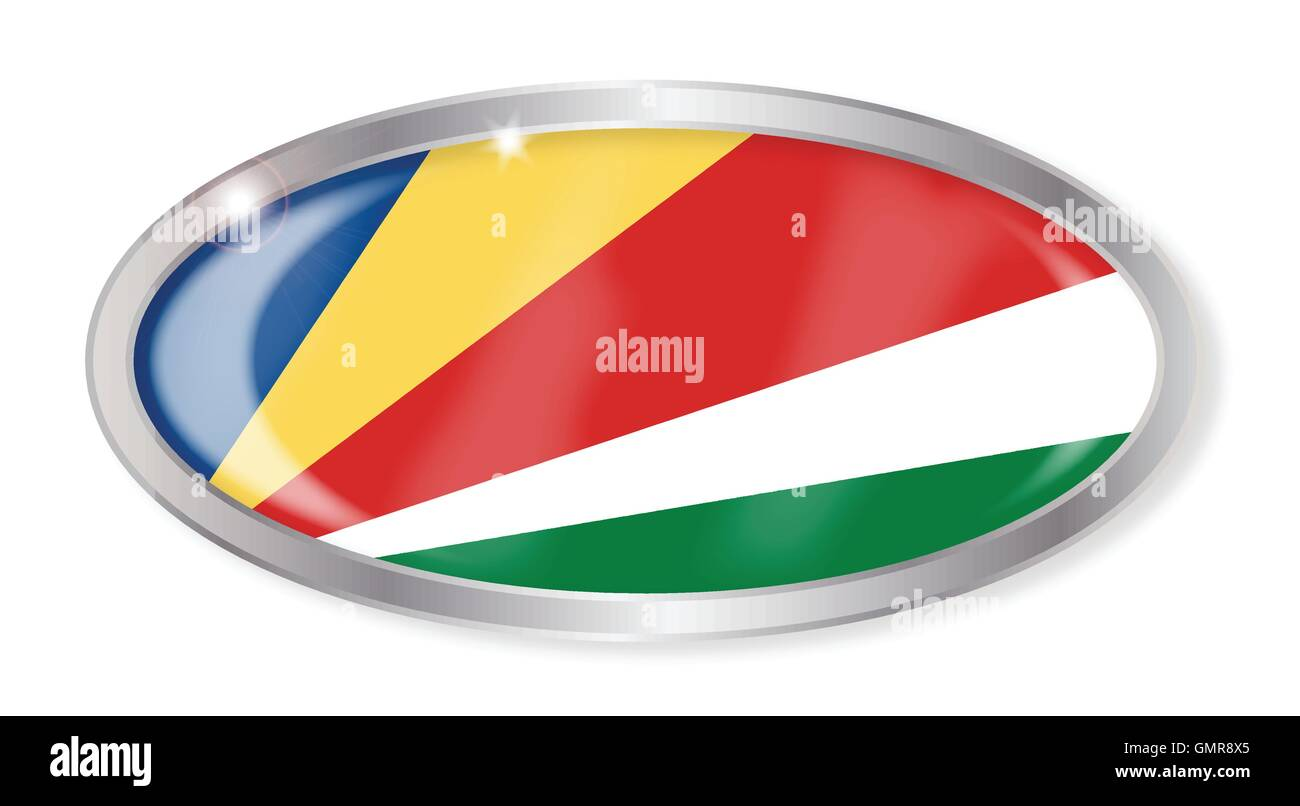 Seychelles Flag Oval Button - Stock Image