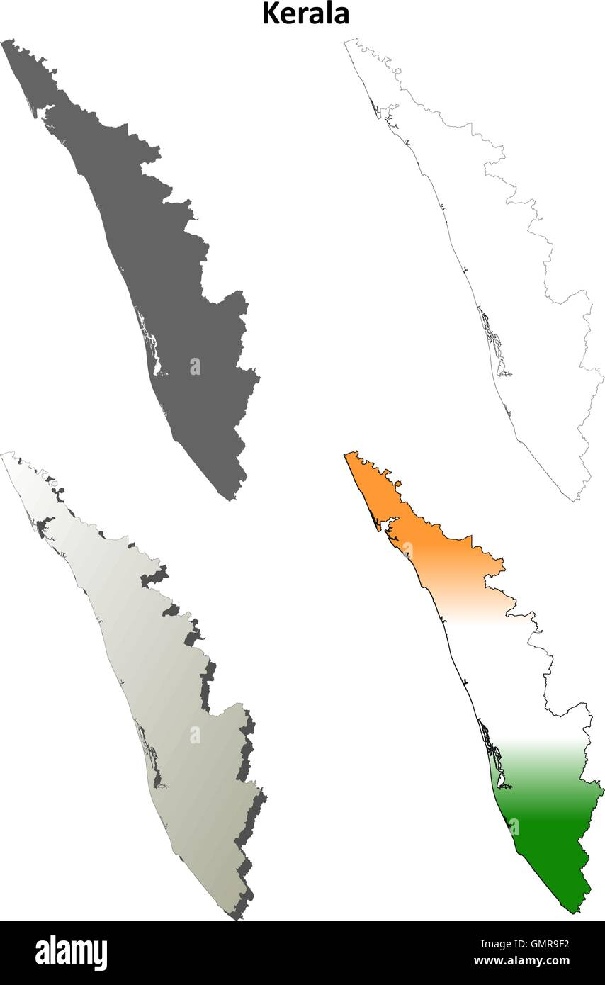 Kerala blank detailed outline map set - Stock Image