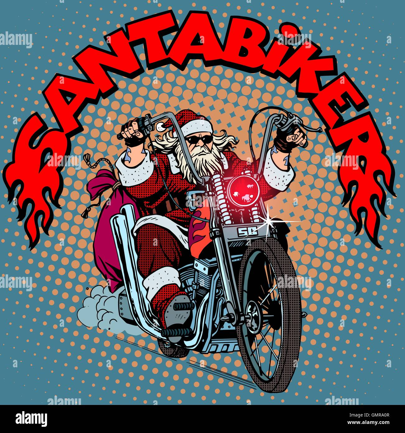 Santa Claus biker motorcycle Christmas gifts Stock Vector Art ...