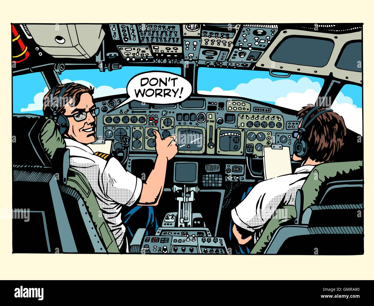 Aircraft cockpit pilots airplane captain - Stock Vector