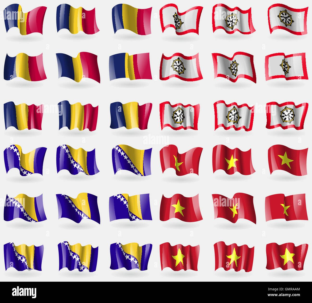 Chad, Sikkim, Bosnia and Herzegovina, Vietnam. Set of 36 flags of the countries of the world. Vector - Stock Vector