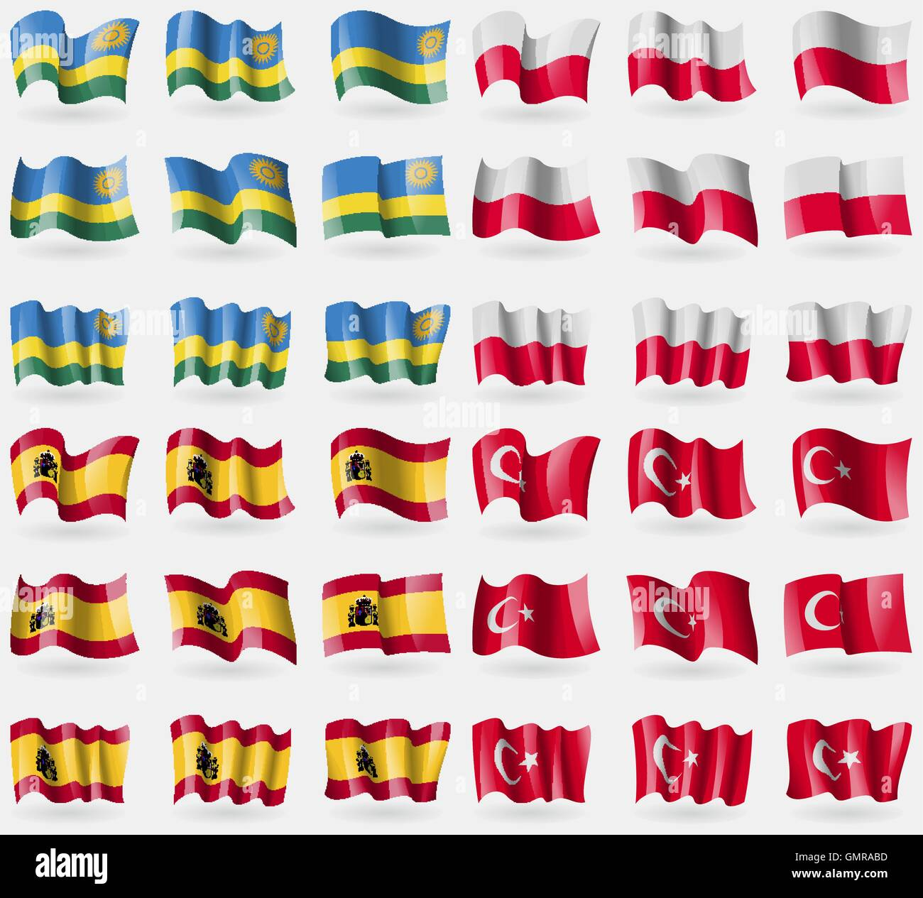 Rwanda, Poland, Spain, Turkey. Set of 36 flags of the countries of the world. Vector - Stock Vector