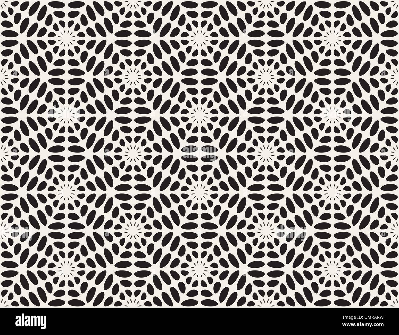 Vector Black and White Rounded Ellipse Lace Star Pattern Stock ...