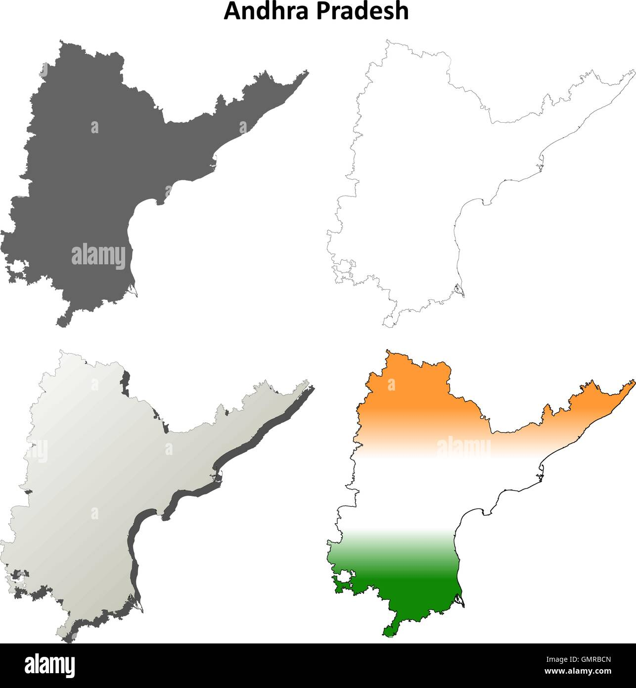 Andhra Pradesh blank outline map set Stock Vector Art & Illustration ...