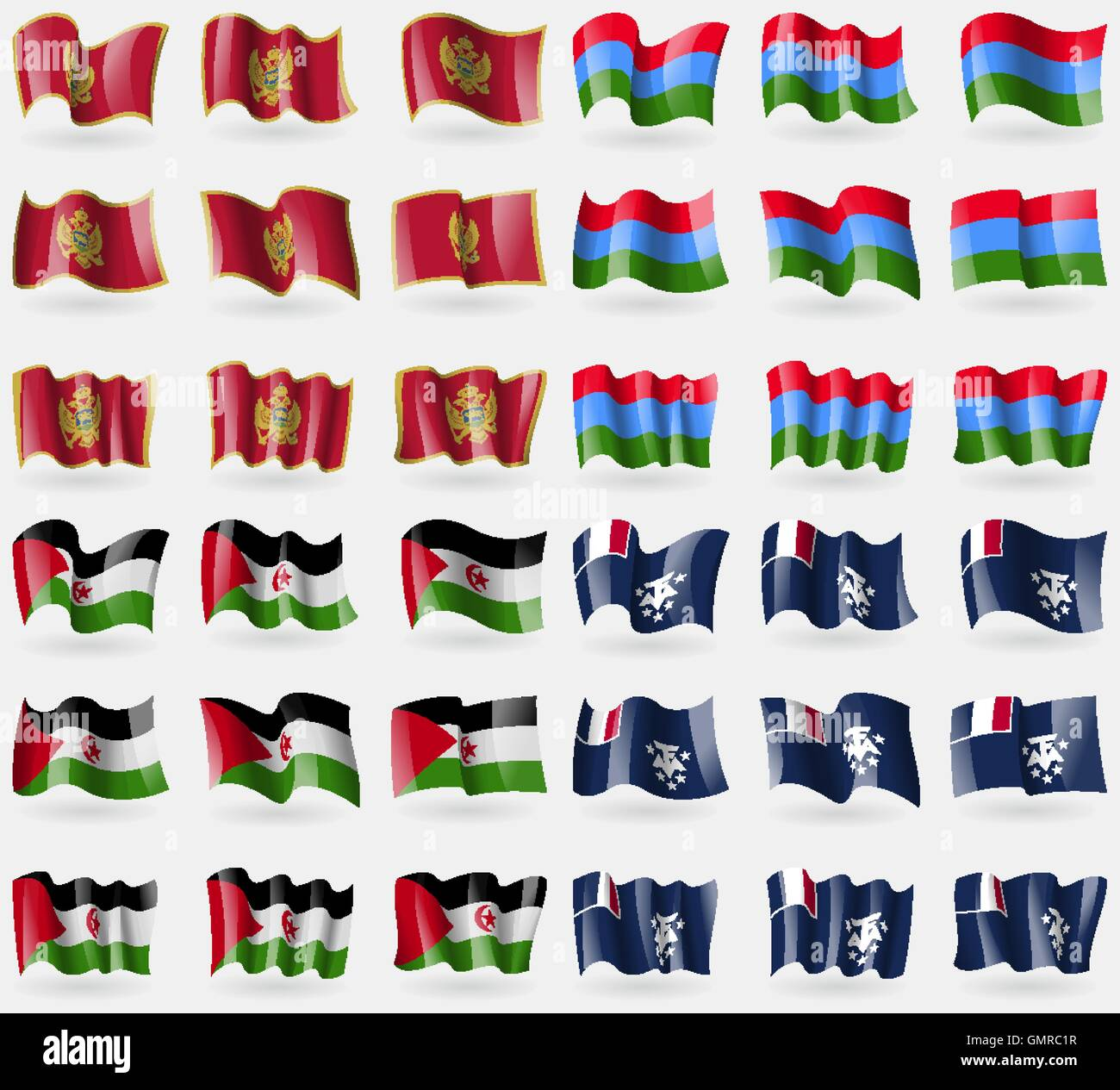 Montenegro, Karelia, Western Sahara, French and Antarctic. Set of 36 flags of the countries of the world. Vector - Stock Image