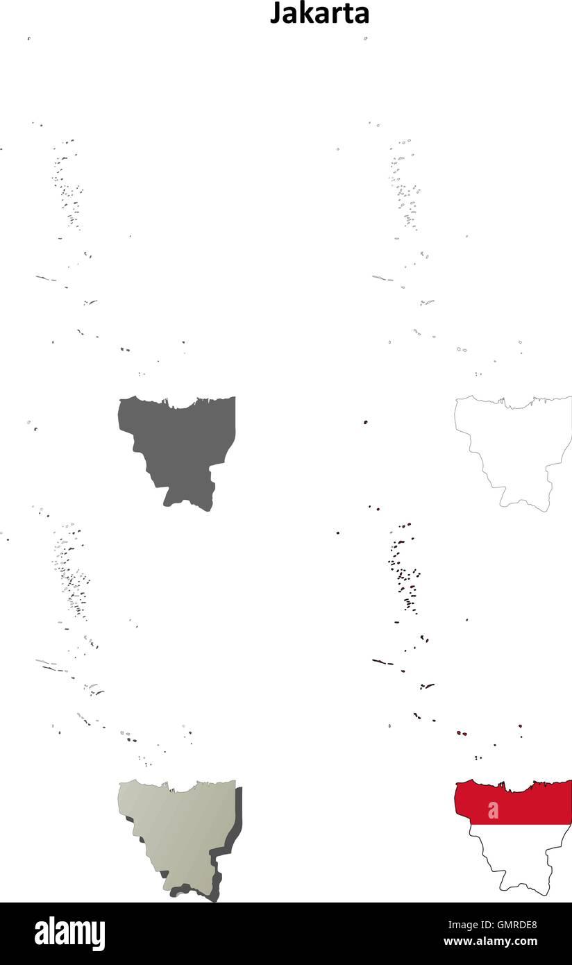 Jakarta blank outline map set - Stock Vector