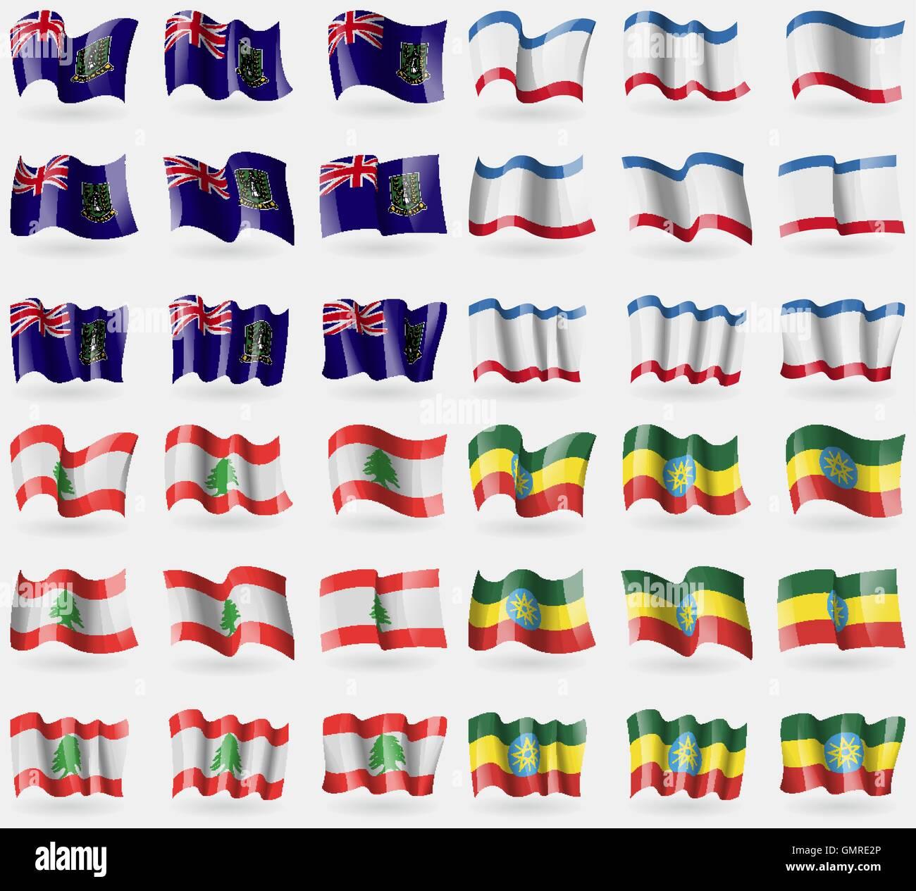 VirginIslandsUK, Crimea, Lebanon, Ethiopia. Set of 36 flags of the countries of the world. Vector - Stock Vector