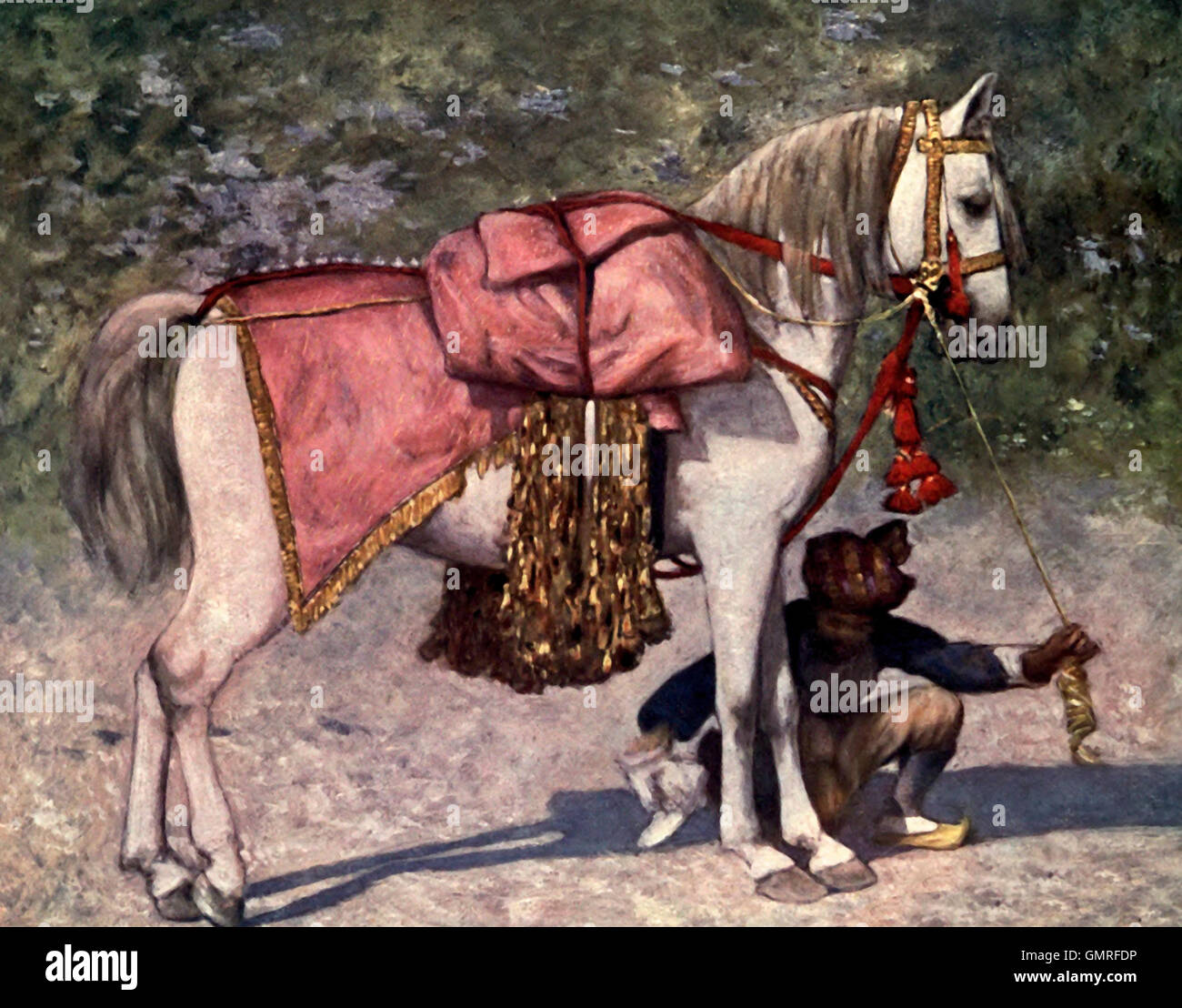 A famous led horse in the retinue of the Rao of Cutch - No one but a Maharaja or the son of a Maharaja has ever - Stock Image