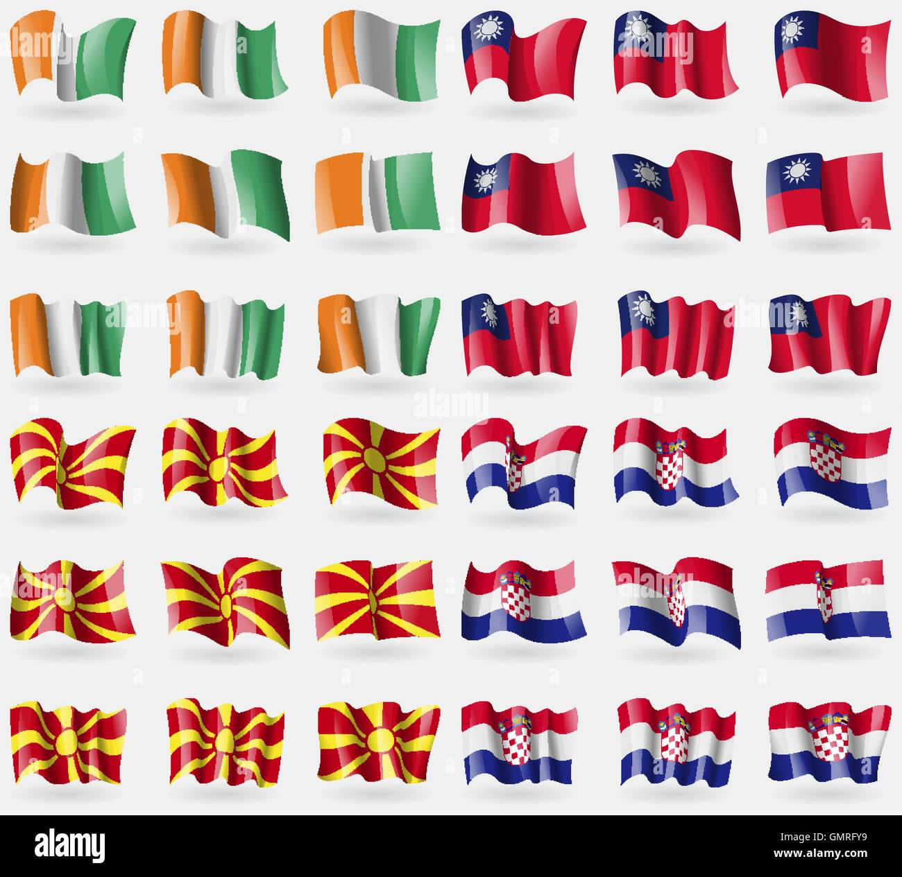 Cote Divoire, Taiwan, Macedonia, Crotia. Set of 36 flags of the countries of the world. Vector - Stock Image