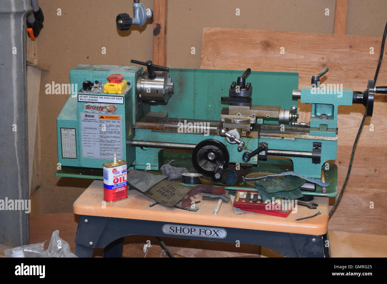 Metal Working Lathe Stock Photo