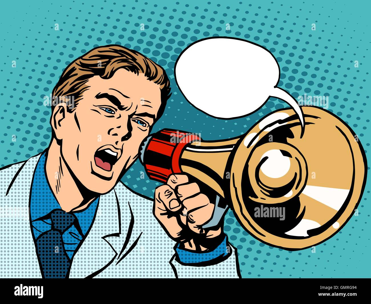 man megaphone policy promotion - Stock Vector