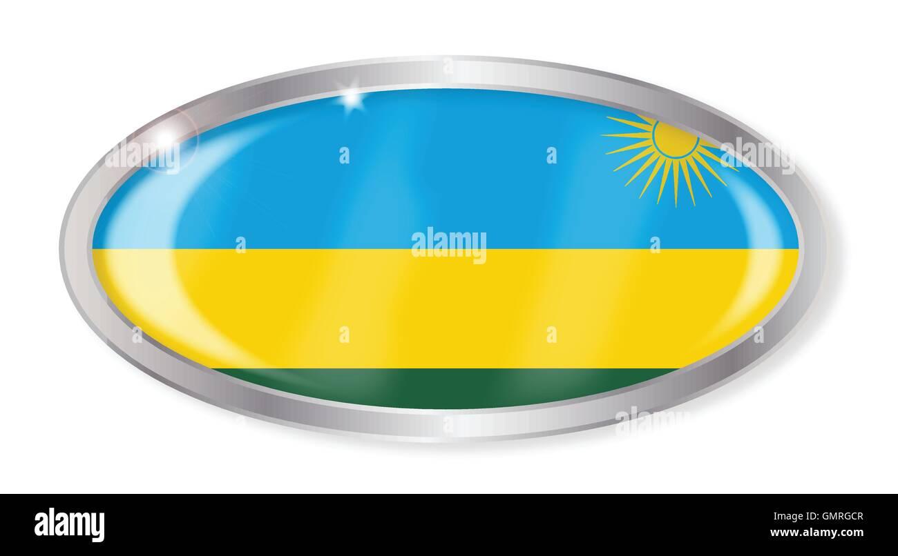 Rwanda Flag Oval Button - Stock Image