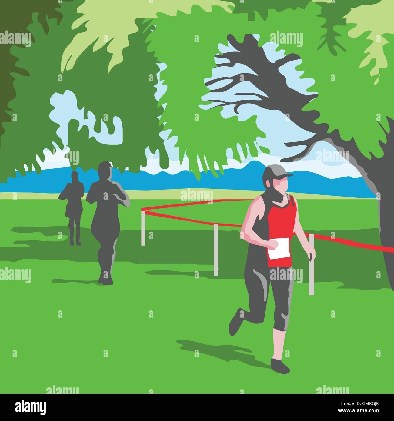 Marathon Runner Running WPA - Stock Vector