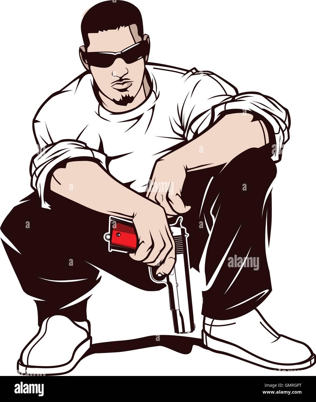 Gangster with a gun - Stock Vector