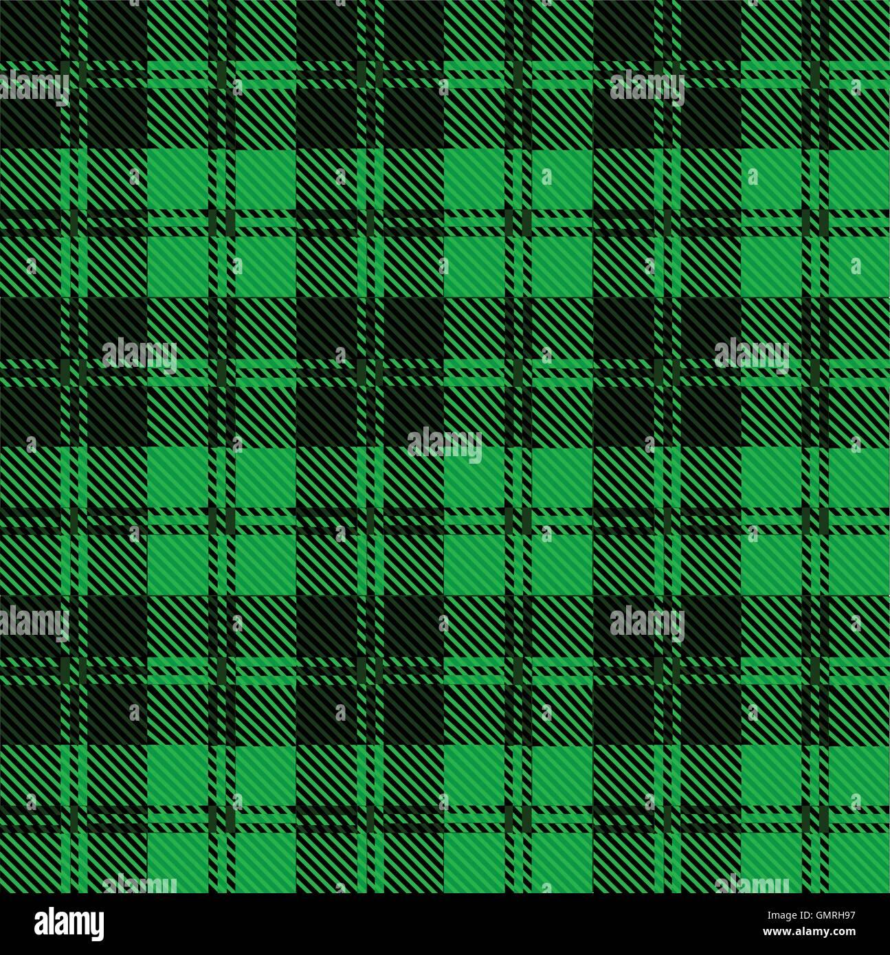Green Tartan Wool Material - Stock Vector