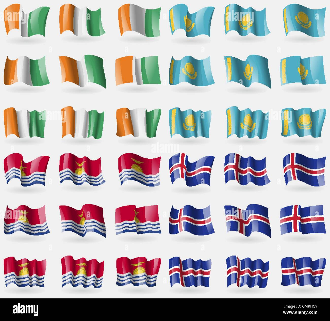 Cote Divoire, Kazakhstan, Kiribati, Iceland. Set of 36 flags of the countries of the world. Vector - Stock Image