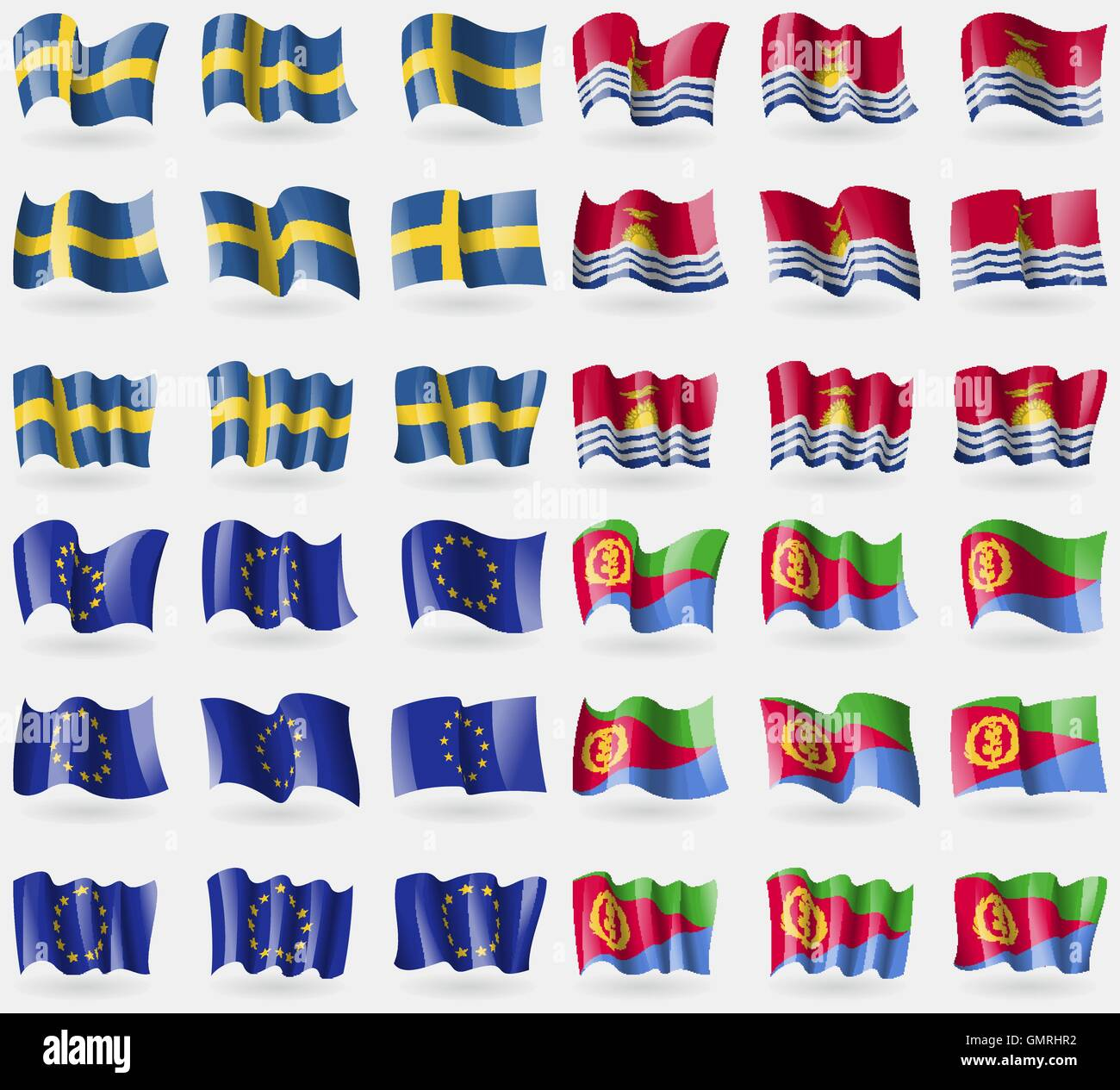 Sweden, Kiribati, European Union, Eritrea. Set of 36 flags of the countries of the world. Vector - Stock Image