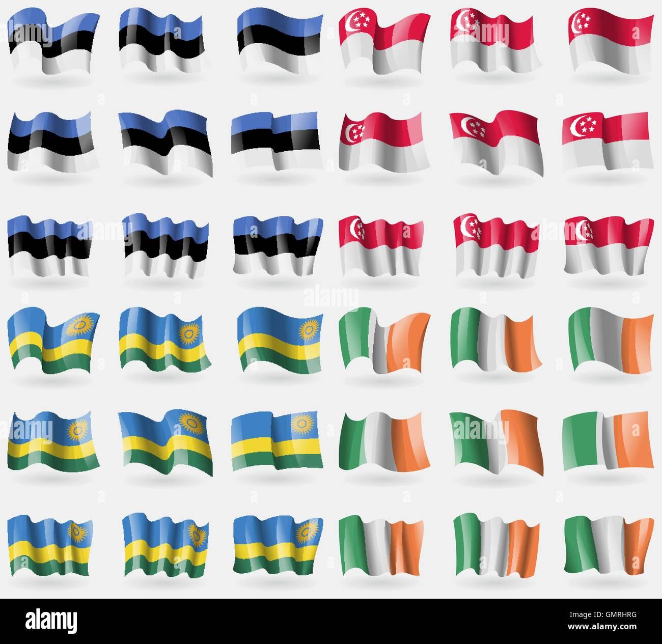 Estonia, Singapore, Rwanda, Ireland. Set of 36 flags of the countries of the world. Vector - Stock Vector