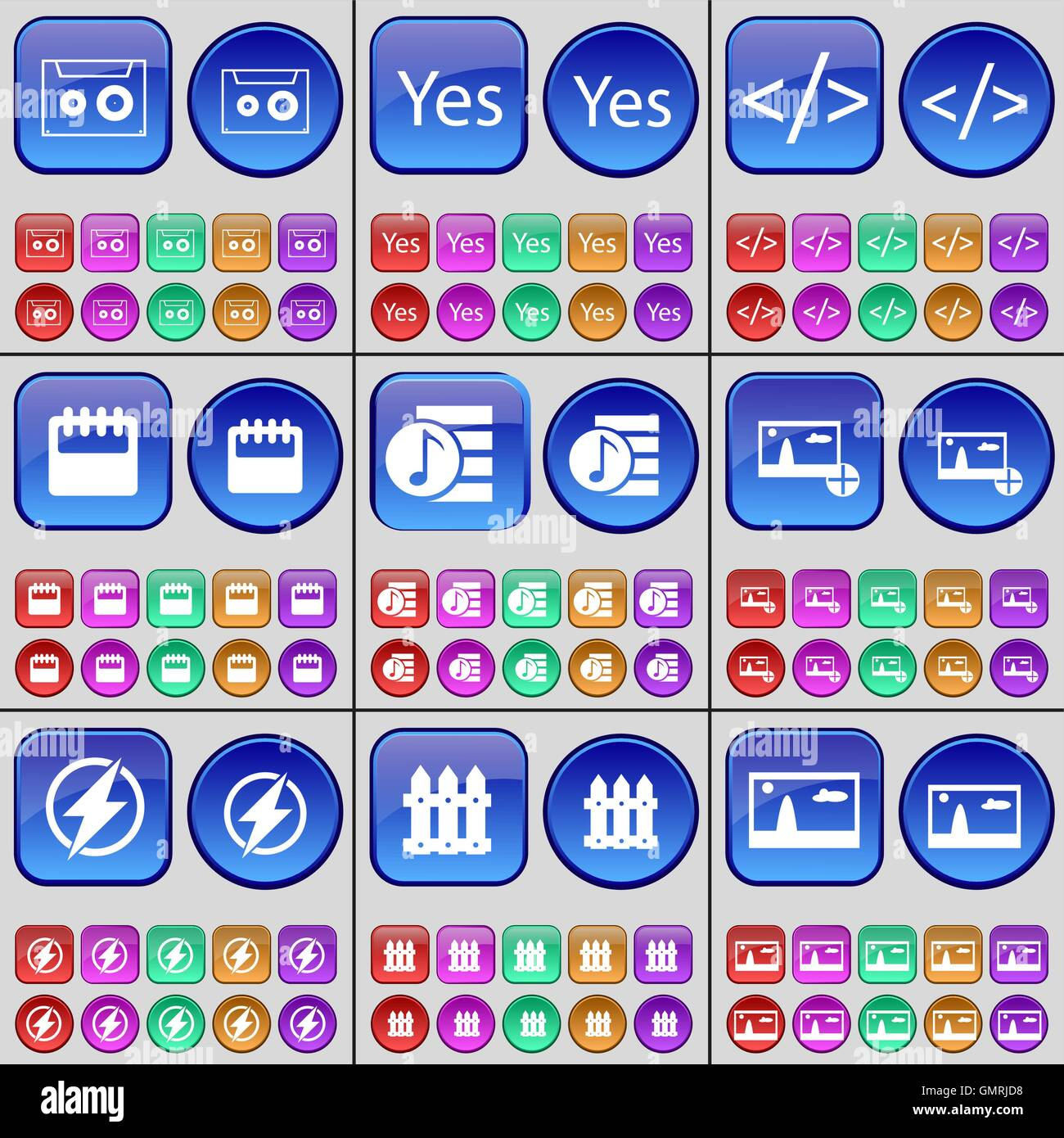 Cassette, Yes, Codem, Calendar, Playlist, Picture, Flash, Fence. A large set of multi-colored buttons. Vector - Stock Image
