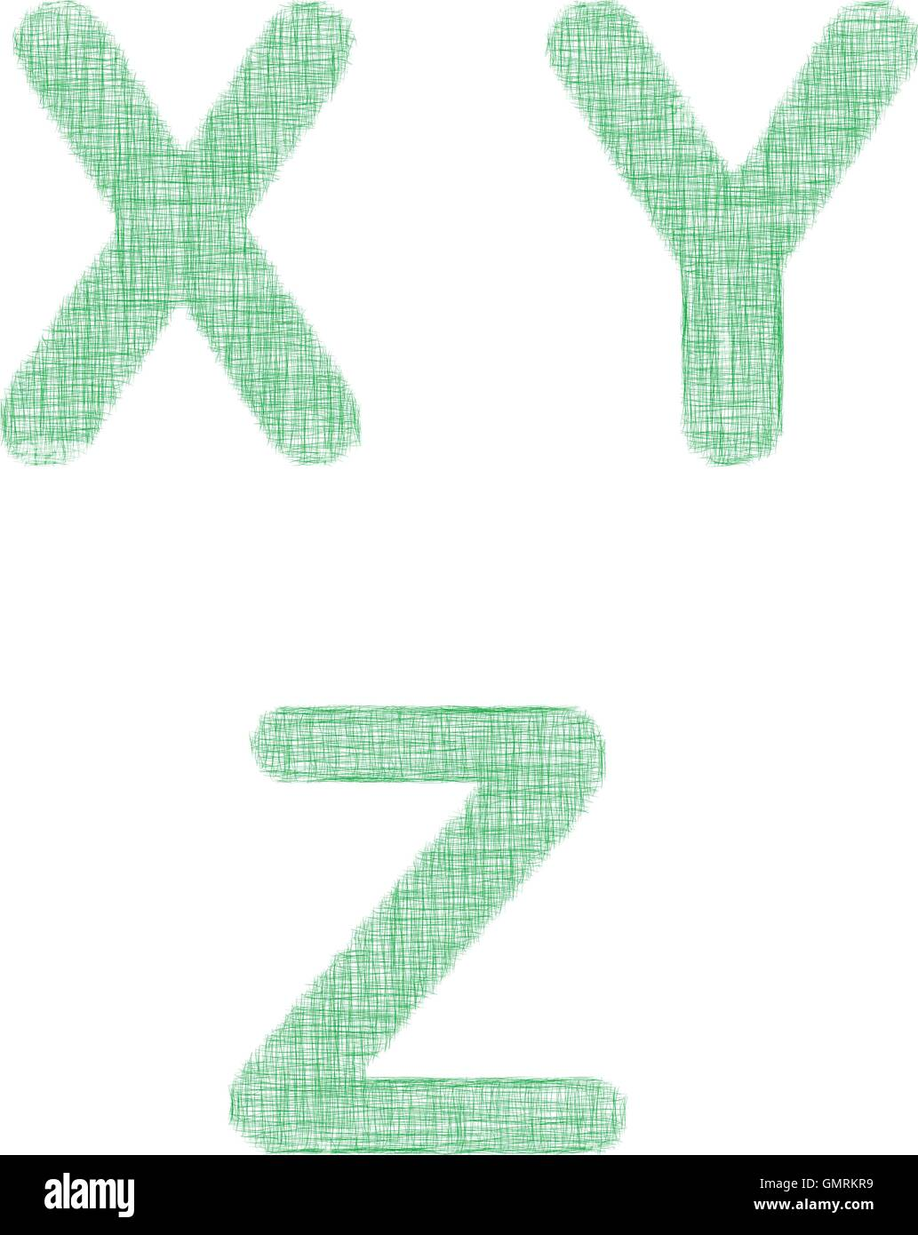 Green fabric font set - letters X, Y, Z - Stock Vector