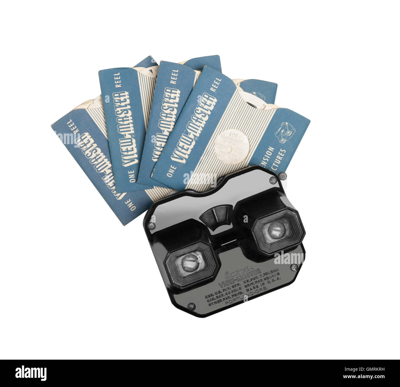 1950 Viewmaster 3D viewer with sleeved disks - Stock Image