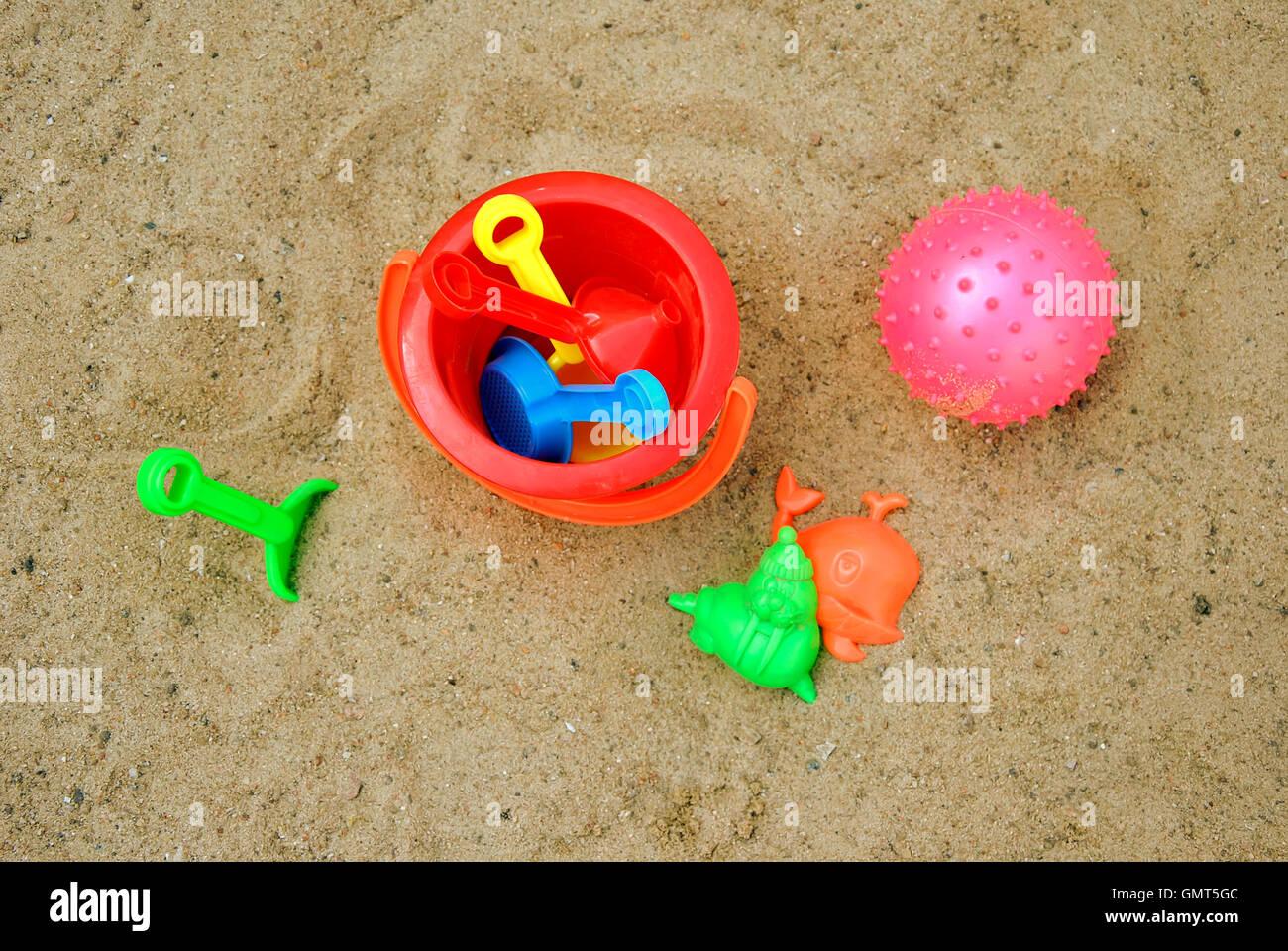 Sandbox with toys - Stock Image